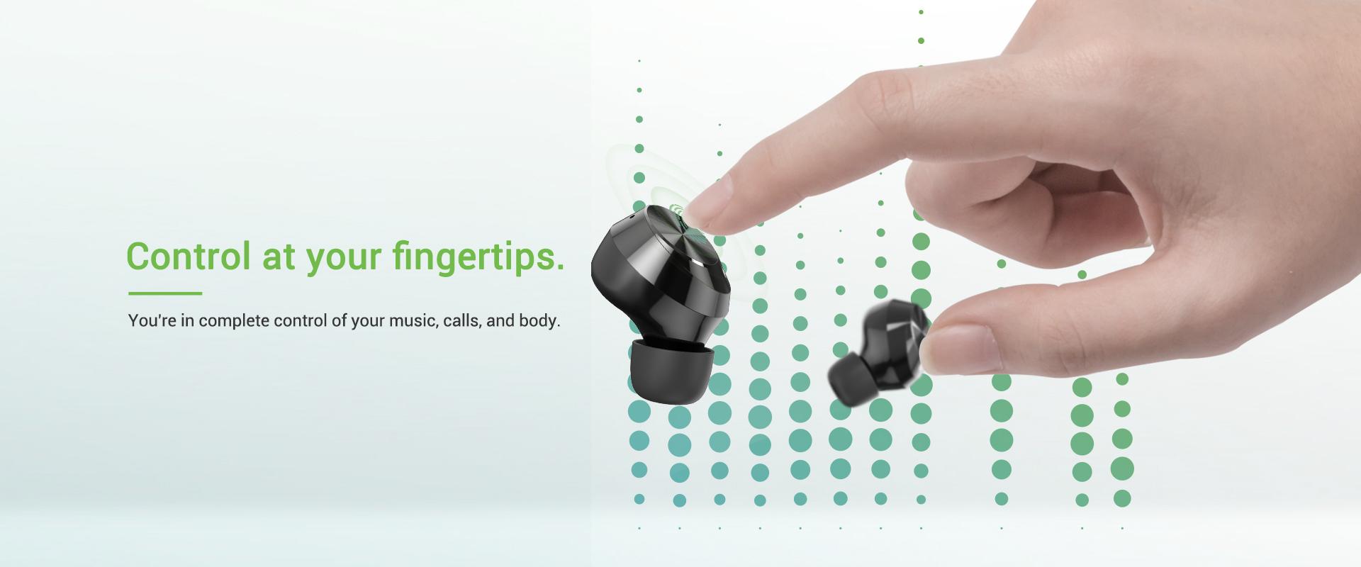 wireless earbuds controls fingertips