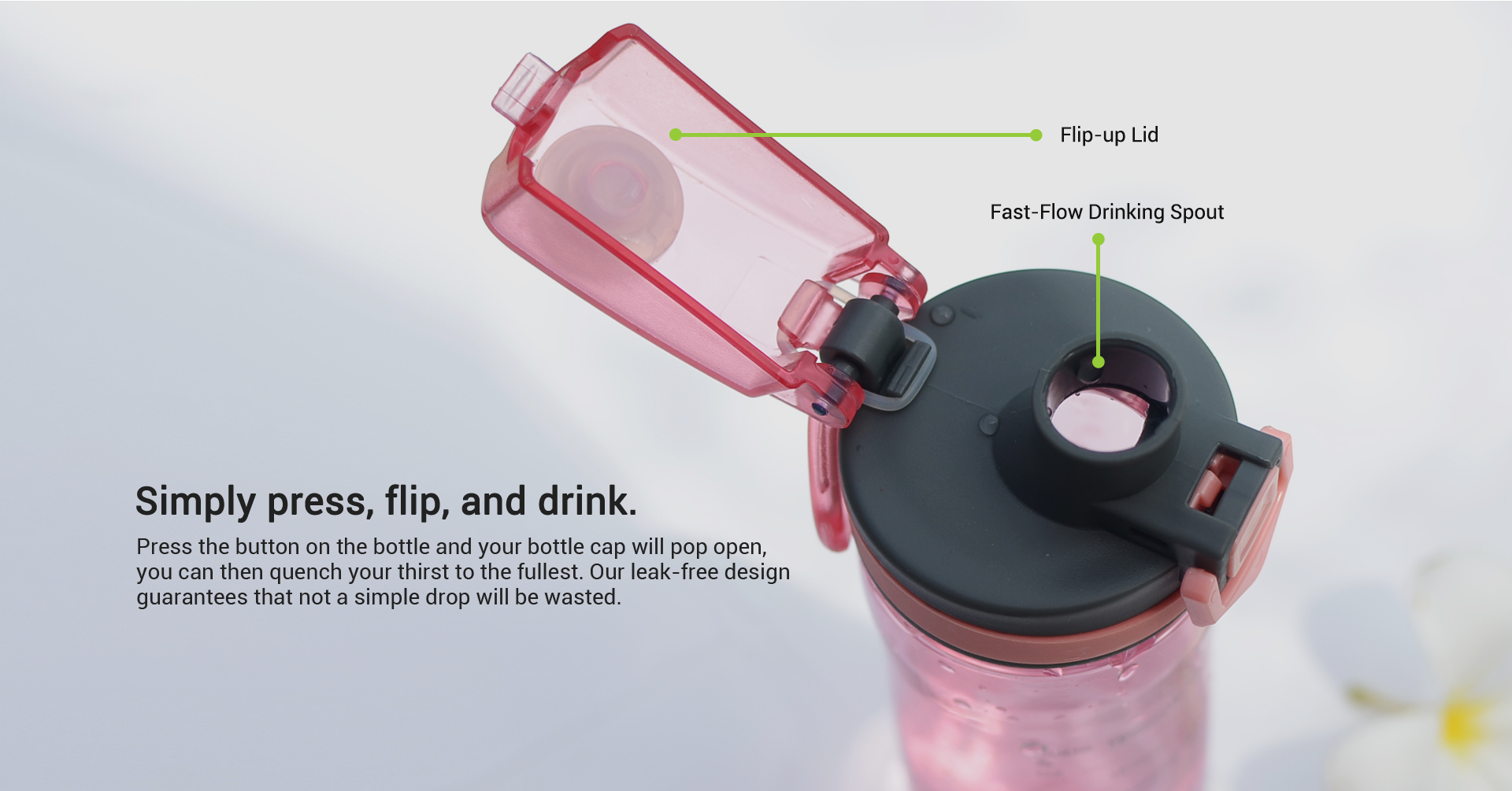 capacity sports water bottle leak proof flip top lid