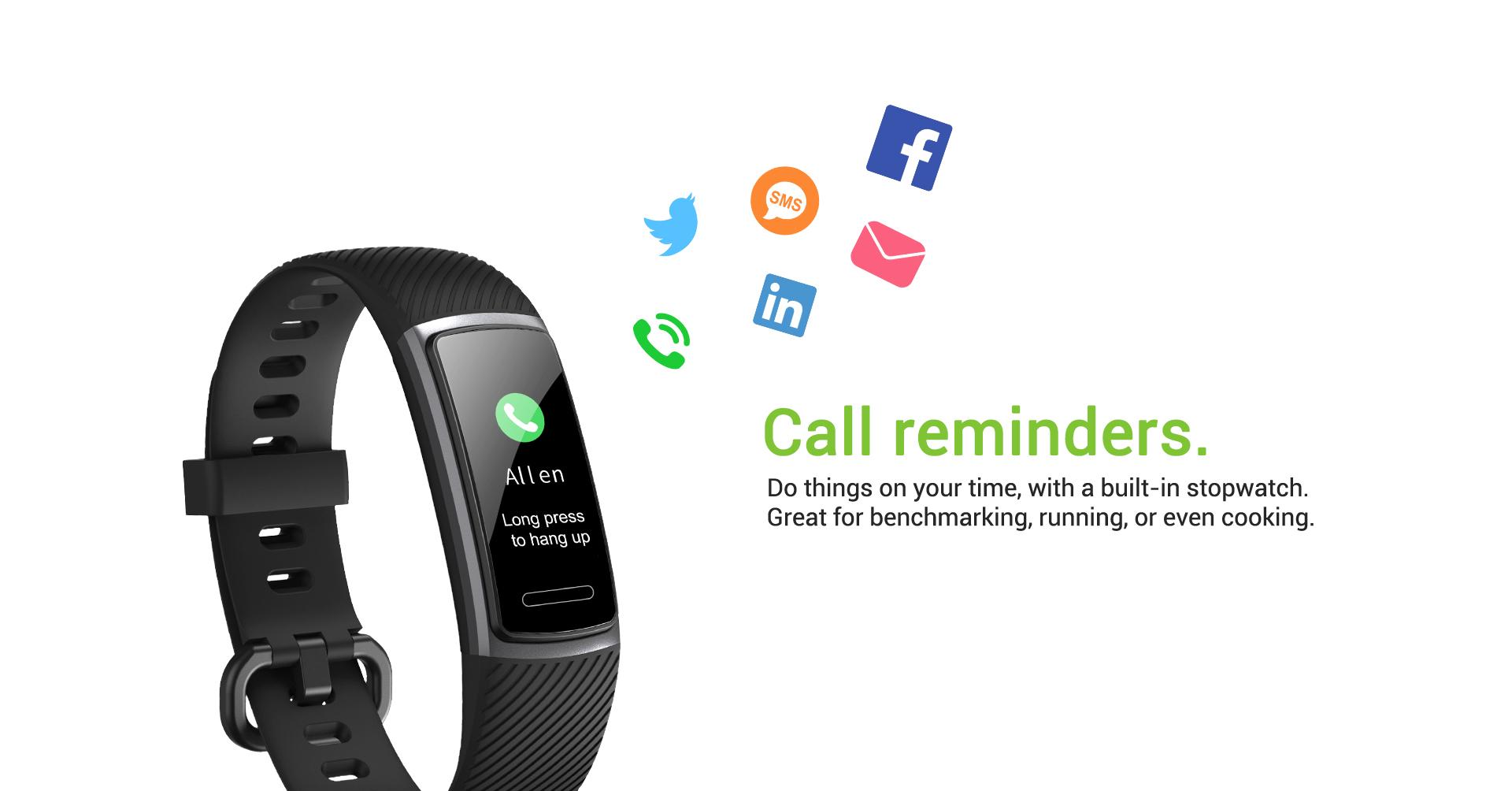 waterproof fitness tracker call reminder
