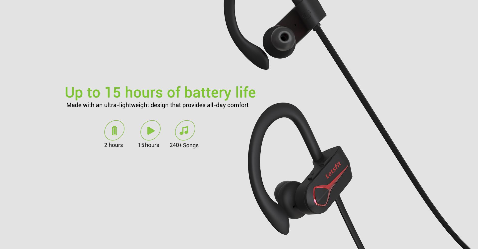 wireless sports headphones long battery life