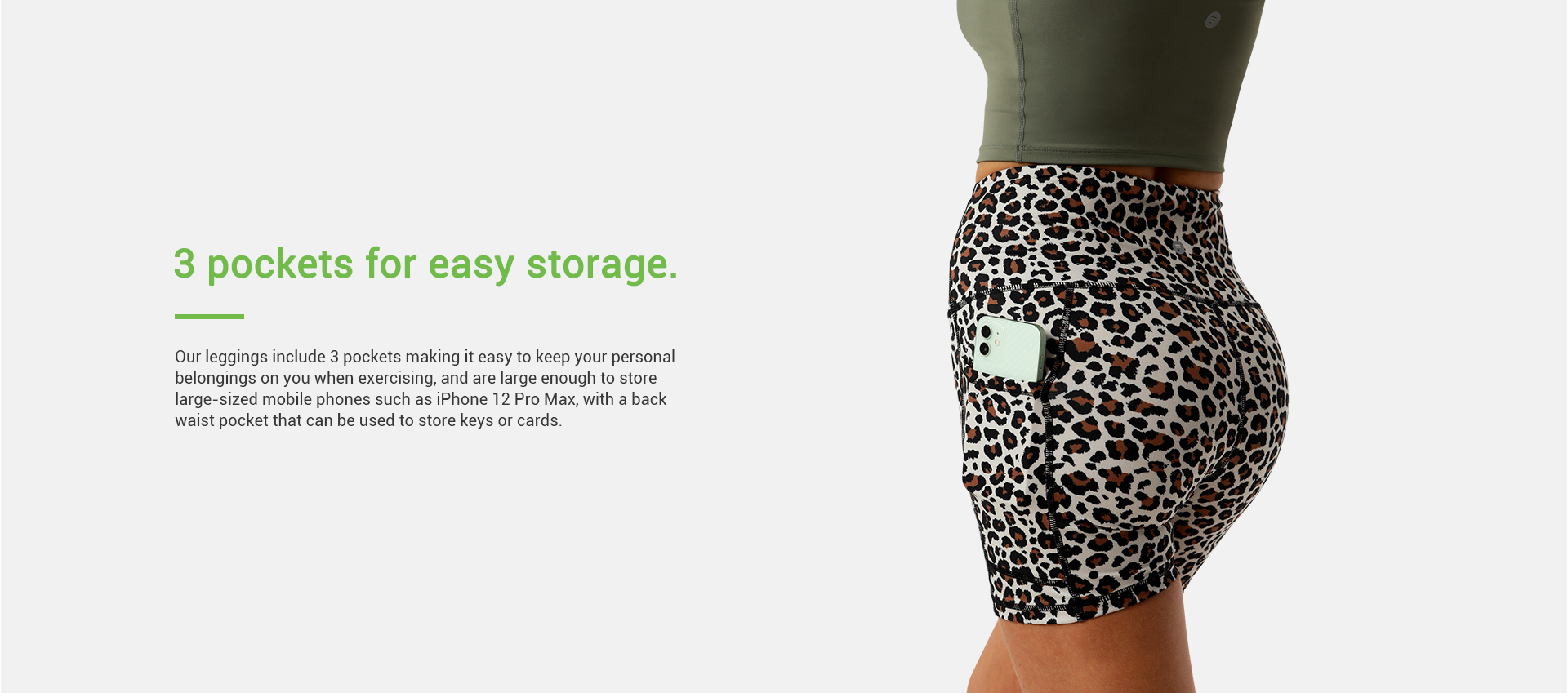 Letsfit short leggings with 3 pockets making it easy to keep your personal belongings on you when exercising, and are large enough to store waist pocket.